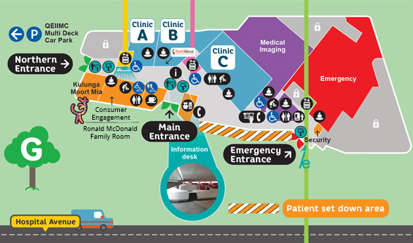 Patient set down area map at PCH
