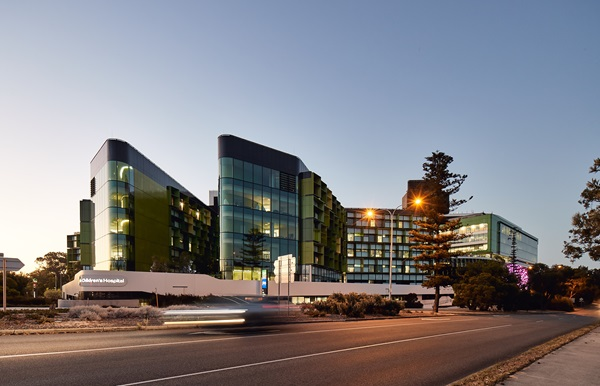 Perth Children's Hospital exterior from Winthrop Avenue